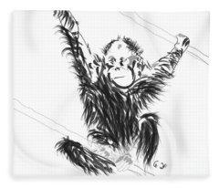 Orangutan Baby Fleece Blanket