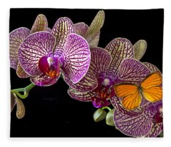 Orchid And Orange Butterfly Fleece Blanket
