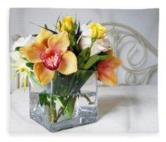 Orchid Bouquet Fleece Blanket