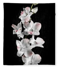 Orchid Flowers On Black Fleece Blanket