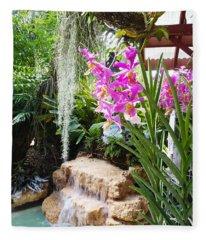 Orchid Garden Fleece Blanket