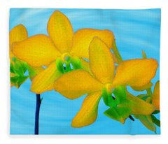 Orchid In Yellow Fleece Blanket