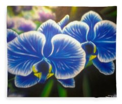 Orchid-strated Blues Fleece Blanket