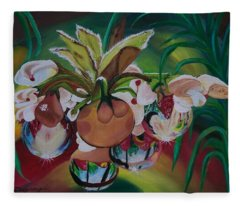 Orchids In Raindrop Reflections Fleece Blanket