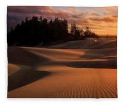 Oregon Dunes Sunset Fleece Blanket