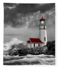 Oregon Lighthouse Cape Blanco In Black White And Red Fleece Blanket
