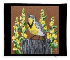 Oregon Meadowlark Fleece Blanket