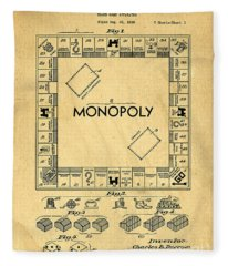 Original Patent For Monopoly Board Game Fleece Blanket