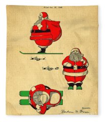 Fleece Blanket featuring the digital art Original Patent For Santa On Skis Figure by Edward Fielding