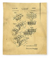 Fleece Blanket featuring the digital art Original Us Patent For Lego by Edward Fielding
