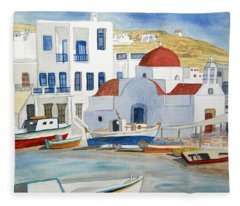 Watercolor - Mykonos Greece Detail Fleece Blanket