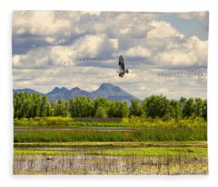 Osprey Over The Wetlands Fleece Blanket