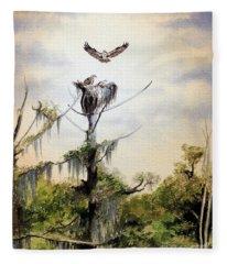 Ospreys Nesting Wakulla River Fleece Blanket