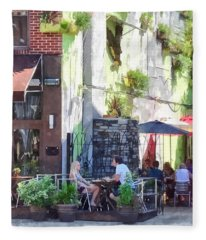 Outdoor Cafe Philadelphia Pa Fleece Blanket