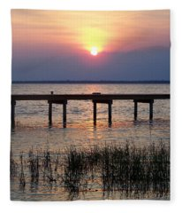 Outerbanks Nc Sunset Fleece Blanket