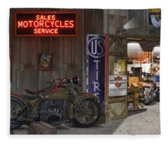 Outside The Motorcycle Shop Fleece Blanket