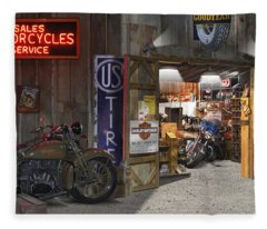 Outside The Motorcycle Shop Fleece Blanket