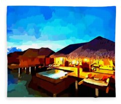 Over Water Bungalows Fleece Blanket
