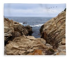 Overcast Day At Pebble Beach Fleece Blanket