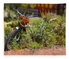 Overgrown Bicycle With Flowers Fleece Blanket