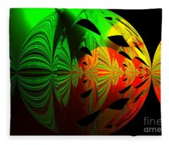 Art. Unigue Design.  Abstract Green Red And Black Fleece Blanket