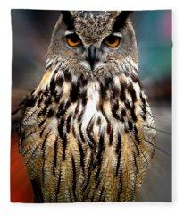 Owl Living In The Spanish Mountains Fleece Blanket