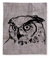Owl On Burlap Fleece Blanket