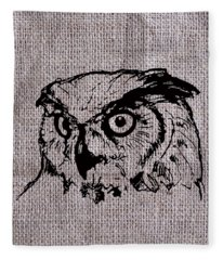 Owl On Burlap Fleece Blanket