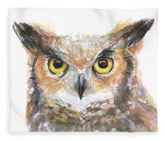Owl Watercolor Portrait Great Horned Fleece Blanket