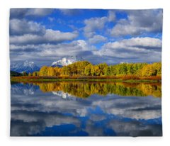 Oxbow Bend Peak Autumn Panorama Fleece Blanket