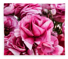 Paint Me Pink Ranunculus Flowers By Diana Sainz Fleece Blanket