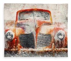 Painted 1940 Desoto Deluxe Fleece Blanket