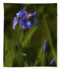 Painted Alaskan Wild Irises Fleece Blanket