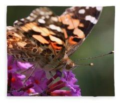 Painted Lady On Butterfly Bush Fleece Blanket