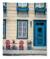 Painted Townhouse In Old Quebec City Fleece Blanket