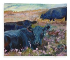 Painting Of Three Black Cows In Landscape Without Sky Fleece Blanket