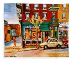 Paintings Of  Famous Montreal Places St. Viateur Bagel City Scene Fleece Blanket