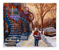 Paintings Of Montreal Beautiful Staircases In Winter Walking Home After The Game By Carole Spandau Fleece Blanket