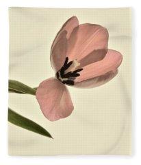Pale Pink Tulip Fleece Blanket