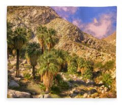 Palm Oasis In Late Afternoon Fleece Blanket