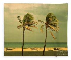 Palm Trees At Hallendale Beach Fleece Blanket