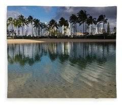 Palm Trees Crystal Clear Lagoon Water And Tropical Fish Fleece Blanket