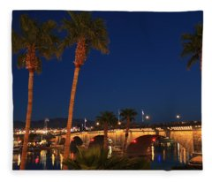 Palms At London Bridge Fleece Blanket