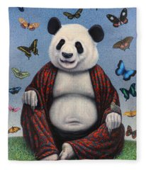 Panda Buddha Fleece Blanket