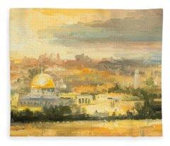 Panorama Of Jerusalem Fleece Blanket