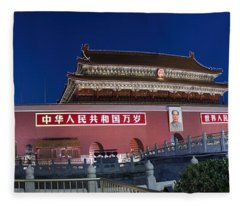 Panorama Of Lion And Forbidden City Gate Beijing China  Fleece Blanket