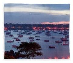 Panoramic Of The Marblehead Illumination Fleece Blanket