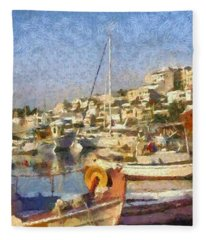 Panoramic Painting Of Mikrolimano Port Fleece Blanket