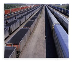 Panoramic View Of Freight Cars At Union Fleece Blanket