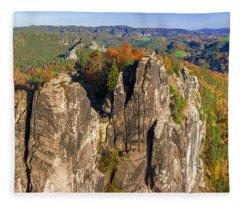 Panoramic Views Of Neurathen Castle Fleece Blanket
